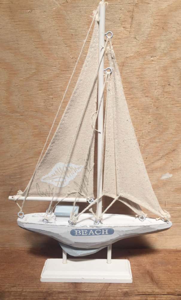 White & Blue 30cm BEACH Distressed Seashell Boat Nautical Ornament